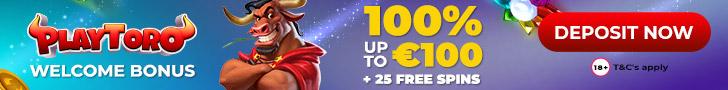 PlayToro Welcome Bonus 100% up to €100